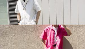 """ open collar shirt! white/pink """
